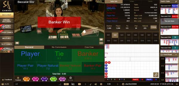 โต๊ะ บาคาร่า SA Gaming
