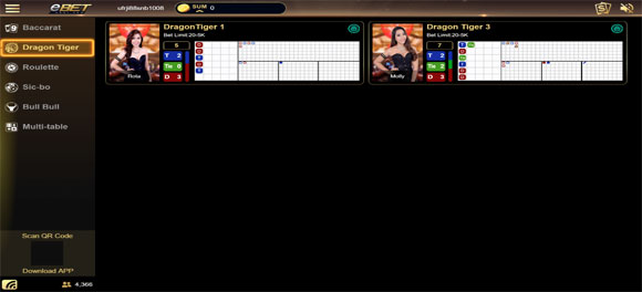 เลือกห้อง Dragon Tiger eBET